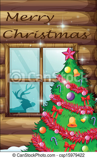 A christmas tree near the window - csp15979422
