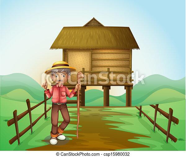 Vettori di un vecchio uomo con canna standing in for Piani di garage free standing