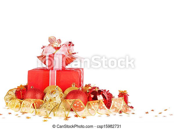 Christmas gifts and balls with gold ribbon isolated on a white background