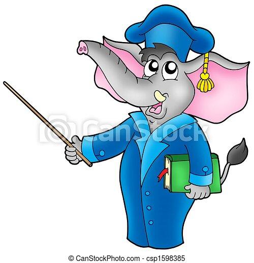 Cartoon elephant teacher - csp1598385