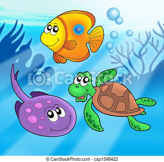 Cute marine animals 3 - csp1598422
