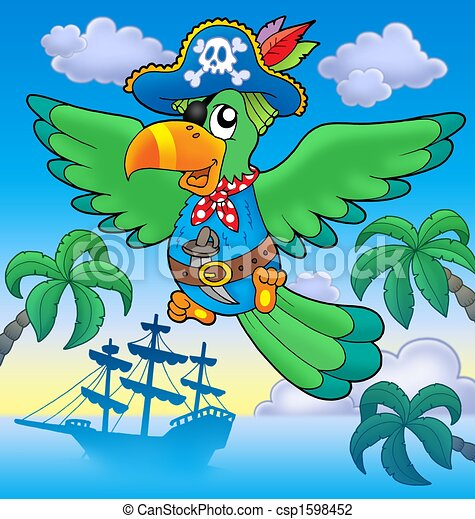Clip Art of Flying pirate parrot with boat - color ...