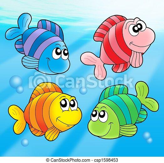 Dessins de quatre mignon poissons couleur - Poisson dessin couleur ...