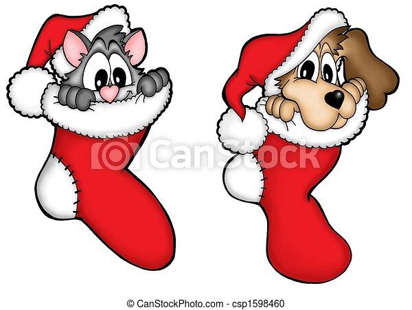 Stock de Ilustraciones , perro, navidad, gato