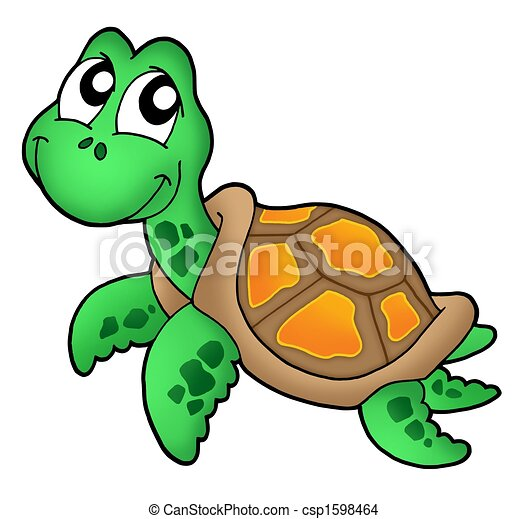 Drawing of Little sea turtle color illustration csp1598464