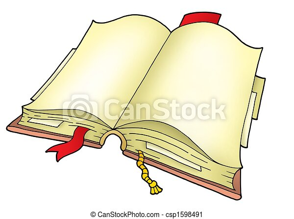 Open Book Line Drawing Clipart of Open...