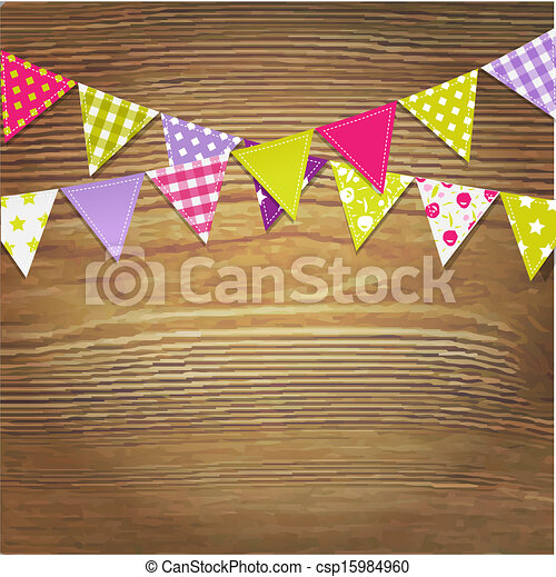 Bunting Flags With Wood Background - csp15984960