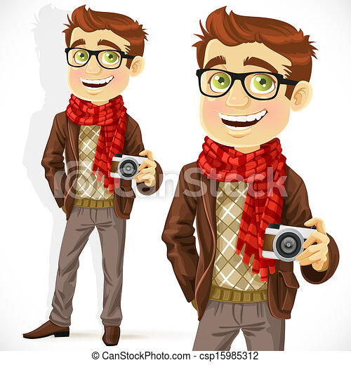 Vector Clip Art of Hipster guy wearing a scarf and with a ...