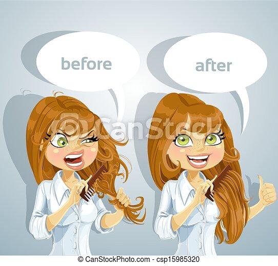 Vector Illustration of Girl brushing her hair - Cute brown ...