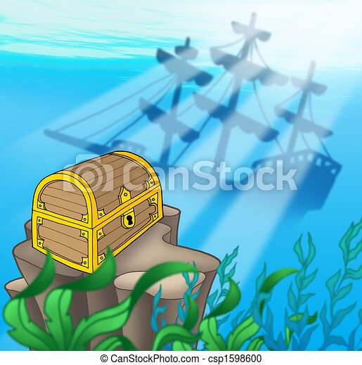 Treasure chest with shipwreck - csp1598600