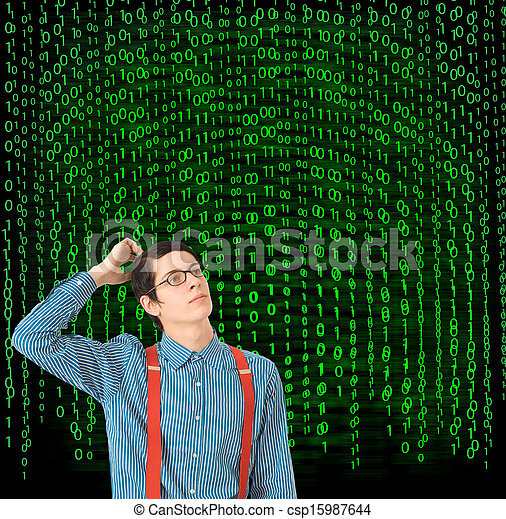 Scratching head Nerd with binary on background