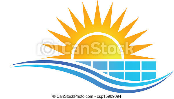 Sun with Solar Panel Logo Vector - csp15989094