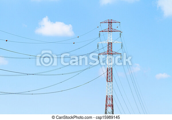 Detail of electricity pylon against