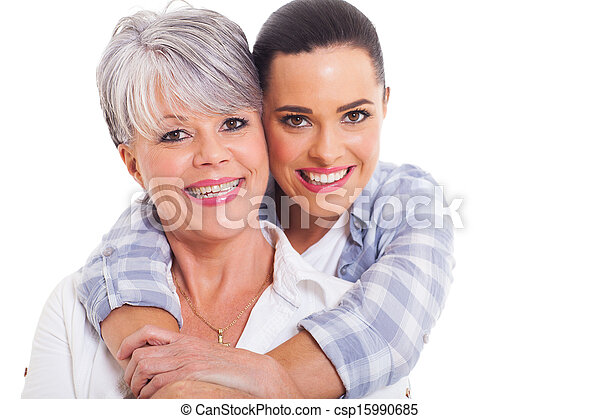 happy mature mother and adult daughter - csp15990685