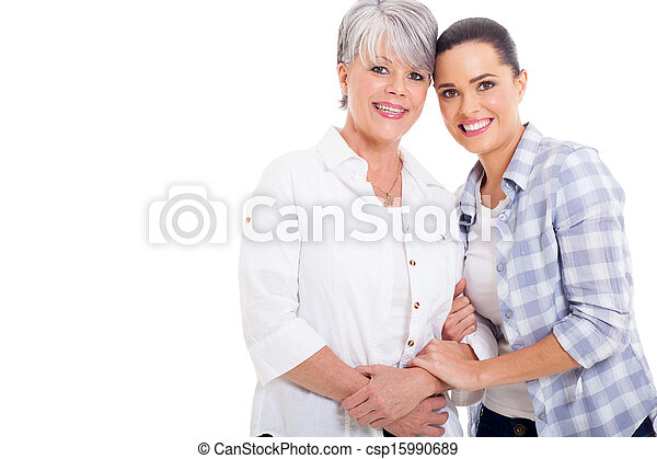 joyful senior mother and young adult daughter - csp15990689