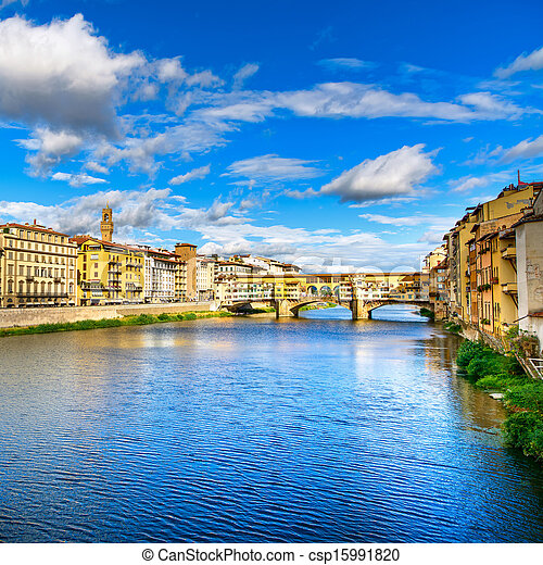 Ponte Vecchio landmark on sunset, old bridge, Arno river in Florence. Tuscany, Italy. - csp15991820
