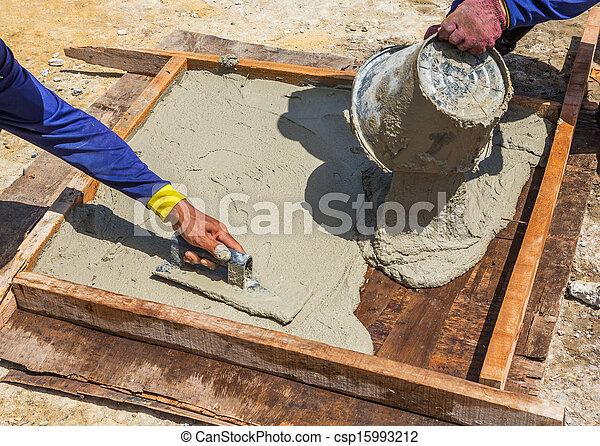 Photographies de moule dalle ciment ouvrier faire ciment dalle moule - Moule pour dalle ciment ...