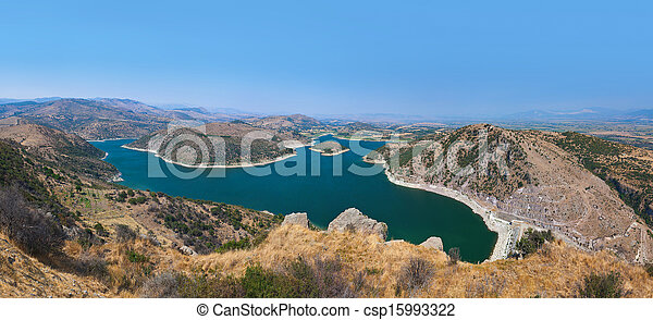 Panoramic view from ancient city of Pergamon to the lake (Turkey) - csp15993322