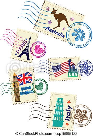 Landmarks stamps set - csp15995122