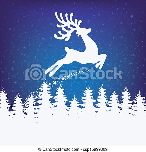 reindeer fly winter background - csp15999009