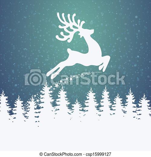 reindeer fly winter background - csp15999127