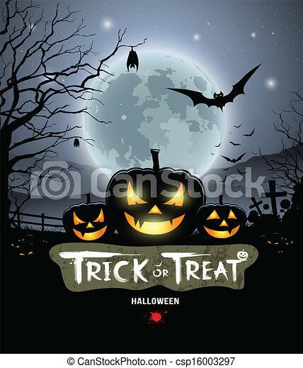 Halloween trick or treat pumpkin - csp16003297