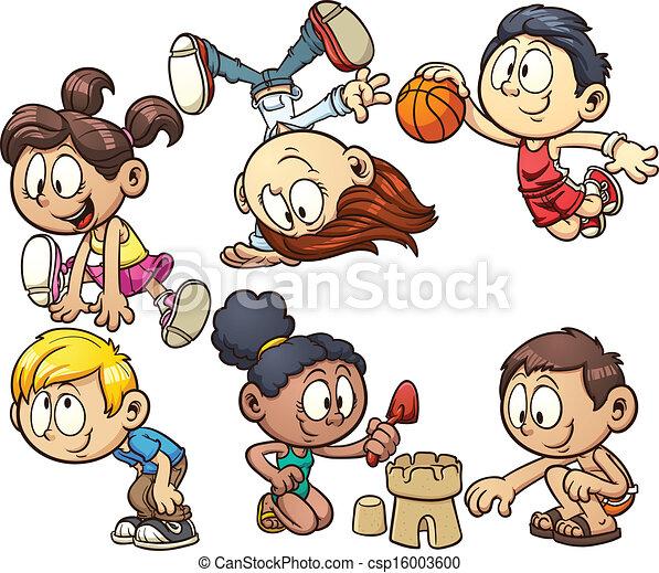 cartoon kids playing csp16003600 - Cartoon Drawings Of Kids