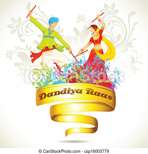 Vectors Illustration Of Couple Playing Dandiya On Navratri