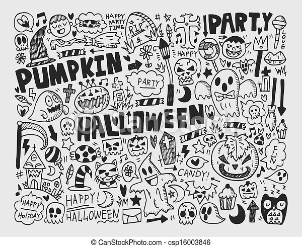 doodle halloween holiday background - csp16003846