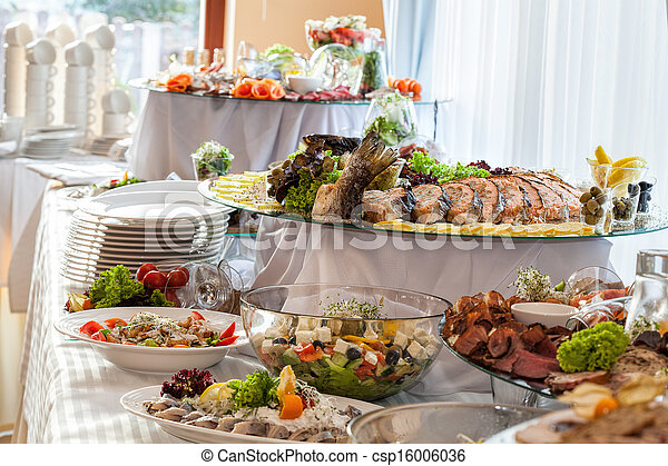 Snacks on banquet table - csp16006036