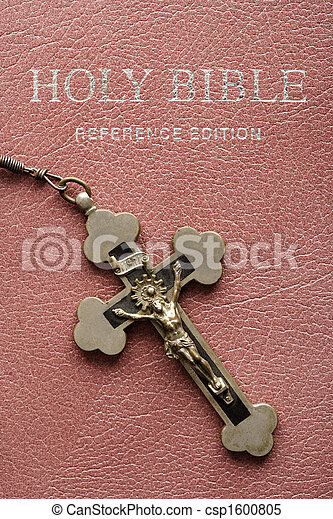 Holy Bible and crucifix. - csp1600805