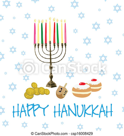 Card of objects for Hanukkah - csp16008429