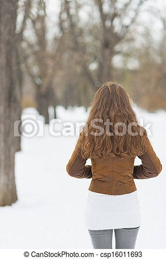 Woman in winter park . rear view - csp16011693