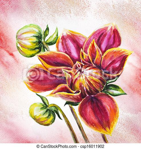 illustration de aquarelle, dahlia, fleur, peinture, fleurir