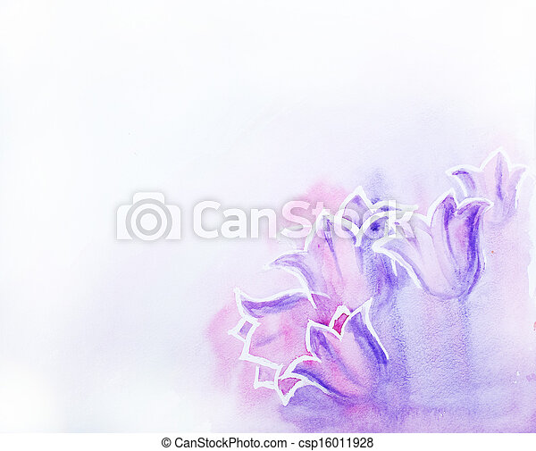 Abstract flowers. Watercolor painting. - csp16011928