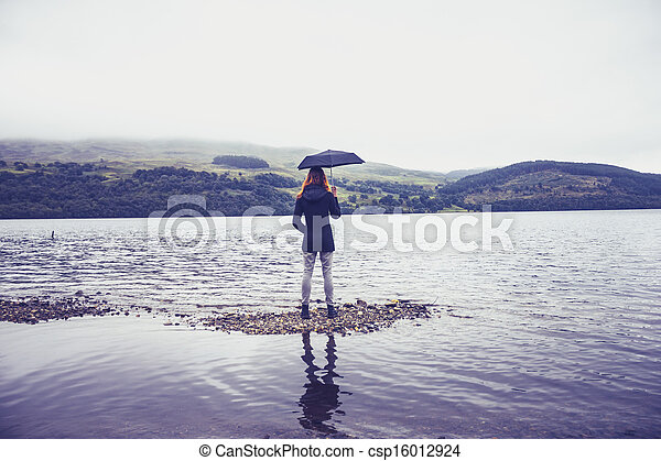 Woman with umbrella standing in lake - csp16012924