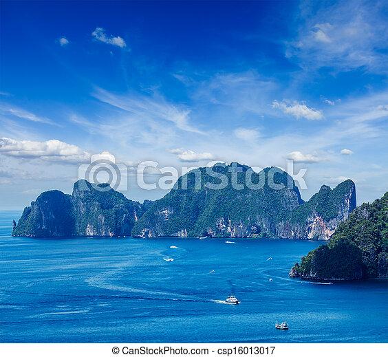 Aerial view of Phi Phi Leh island  - csp16013017