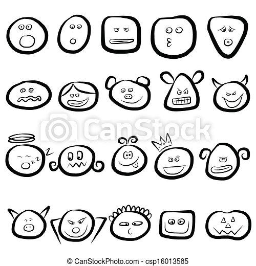 Vector Van Emotie Set Gezichten Pictogram Emotie