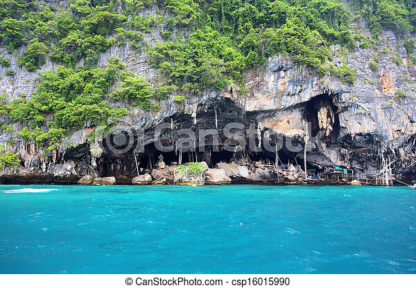 Viking cave - place of bird's nest collection  Thailand - csp16015990