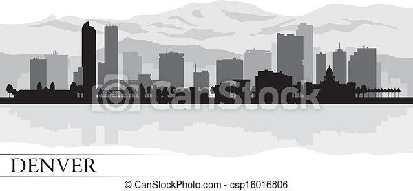 Denver city skyline silhouette background - csp16016806