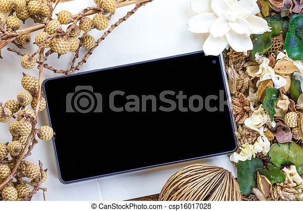 Tablet computer (tablet pc) and Dry flowers