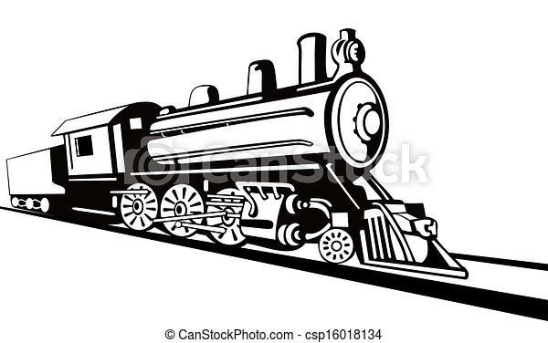 Drawings of Vintage Train Retro Side View - Illustration ...