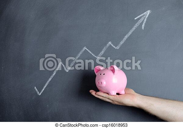 piggy bank  growth chart - csp16018953