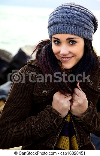 Laughing gorgeous young woman in winter - csp16020451