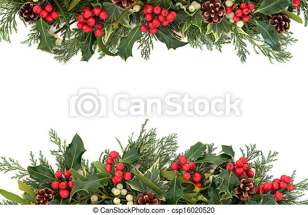 Photo of Christmas Holly Border - Christmas floral border with holly ...