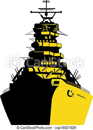 Clip Art of World War Two Battleship Retro - Illustration of a world ...