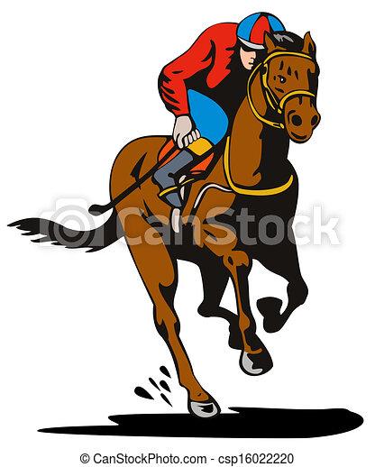 Clipart Di Cavallo Fantino Da Corsa Retro