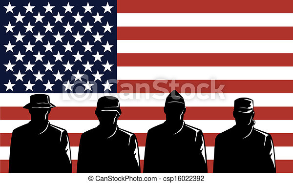 American Soldiers Stars and Stripes Flag - csp16022392