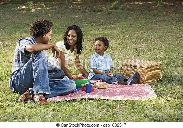 Family picnic in park.