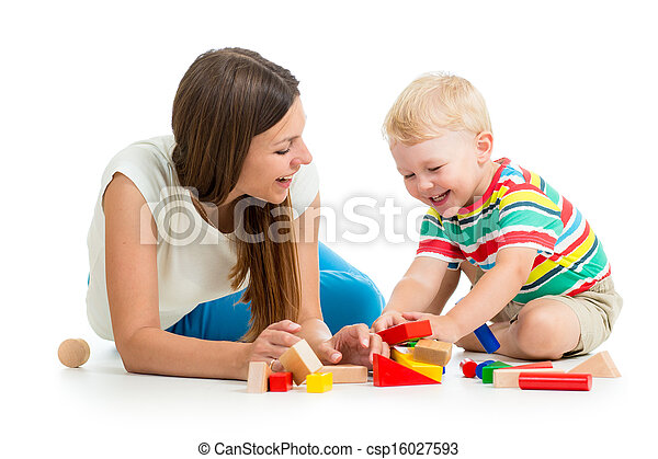 kid boy playing toys together mother - csp16027593